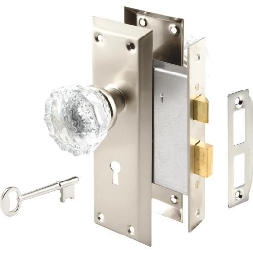 Defender Security Satin Nickel Keyed Mortise Entry Lock Set With Glass Knob