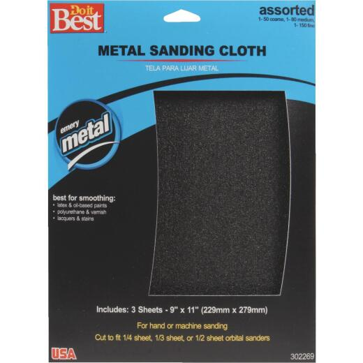 Do it Best 9 In. W. x 11 In. L. Assorted Grit Emery Cloth (3-pack)