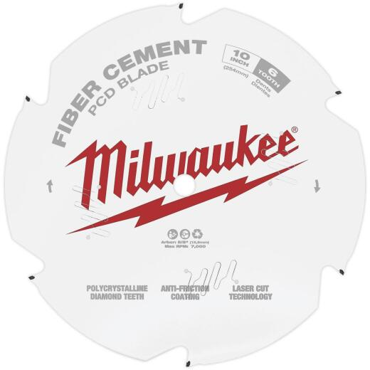 Milwaukee 10 In. 6-Tooth Fiber Cement PCD Circular Saw Blade
