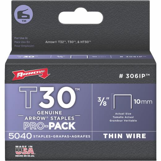 Arrow T30 Pro-Pack Thin Wire Staple, 3/8 In. (5040-Pack)