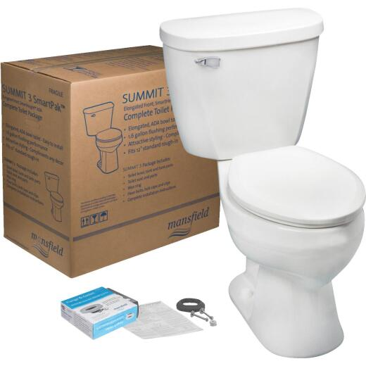 Mansfield Summit SmartHeight White Elongated Bowl 1.28 GPF Complete Toilet