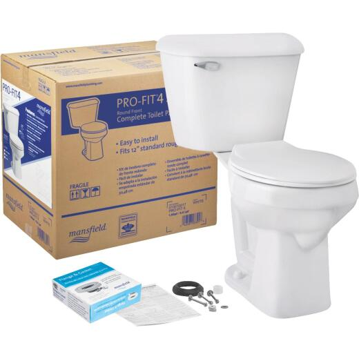 Mansfield Pro-Fit 4 SmartHeight White Round Bowl 1.6 GPF Complete Toilet