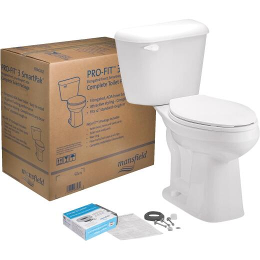 Mansfield Pro-Fit 3-128 HET Biscuit Elongated Bowl 1.28 GPF Complete Toilet