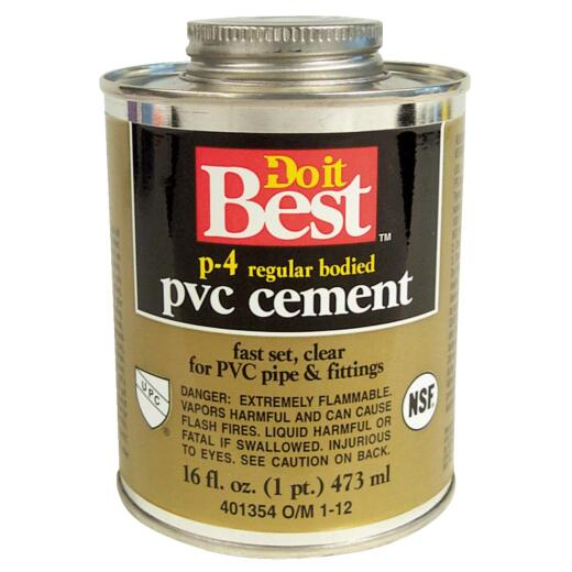 Do it Best 16 Oz. Regular Bodied Clear PVC Cement