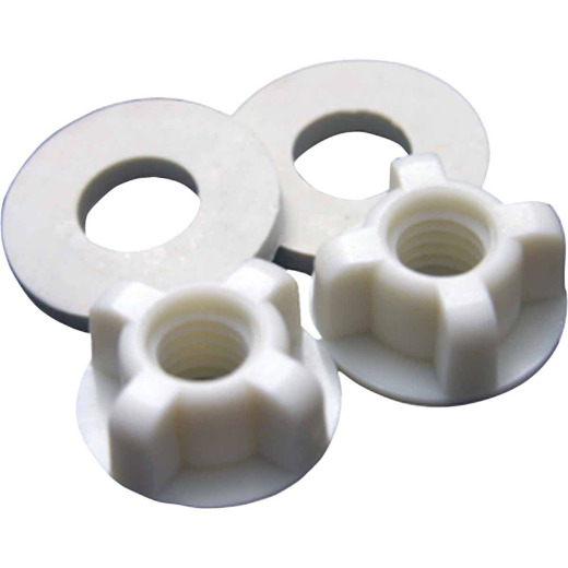 "Lasco 3/8"" White Plastic Toilet Seat Bolt, Includes Nuts and Washers"