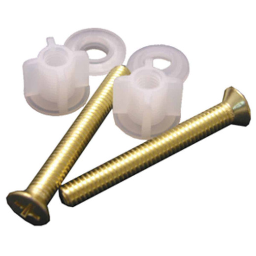 "Lasco 3/8"" x 2-1/2"" Polished Brass Metal Toilet Seat Bolt, Includes Nuts and Washers"