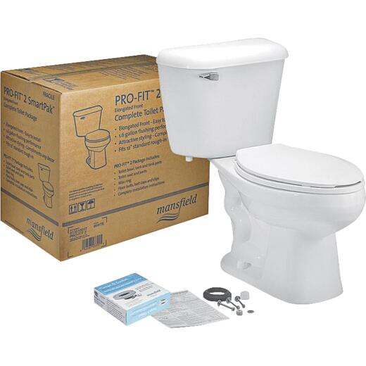 Mansfield Pro-Fit 2 White Elongated Bowl 1.6 GPF Toilet Kit