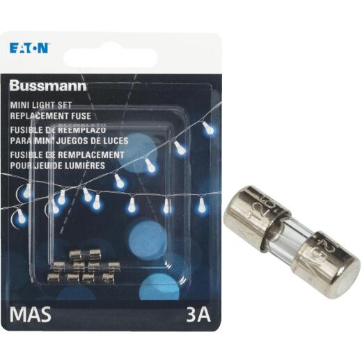 Bussmann Strand Saver 3A Glass Christmas Light Set Fuses