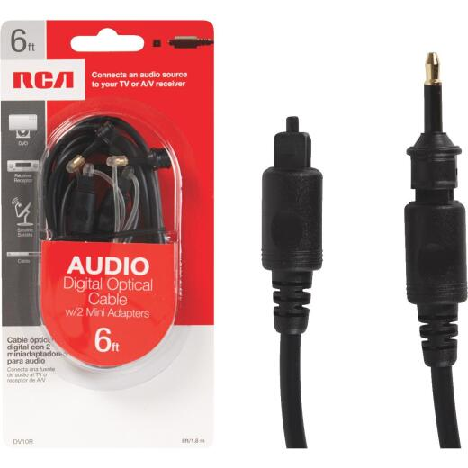 RCA 6 Ft. Black Audio Digital Optical Cable