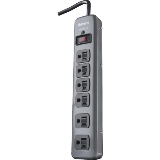 Woods 6-Outlet 900J Dark Gray Surge Protector Strip with 3 Ft. Cord