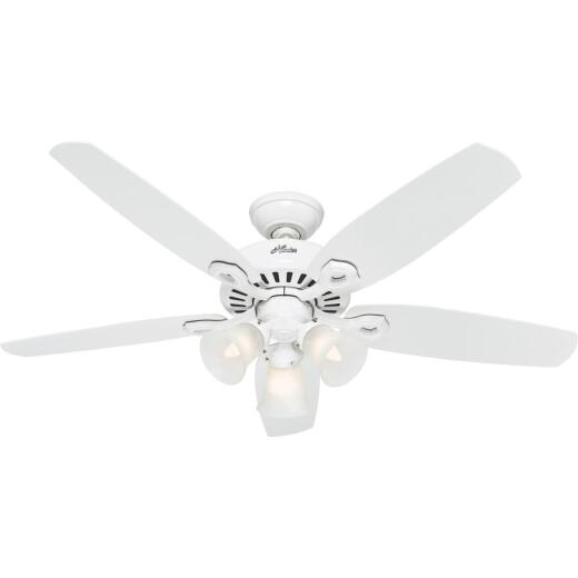Hunter Builders Plus 52 In. White Ceiling Fan with Light Kit