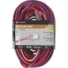 Southwire 100 Ft. 12/3 Indoor/Outdoor Red, White, & Blue Striped Patriotic Extension Cord Image 1