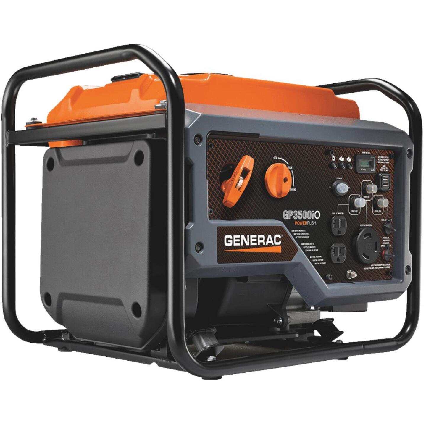 Generac GP3500iO 3000W Gasoline Powered Open Frame Recoil Pull Start Inverter Generator Image 1