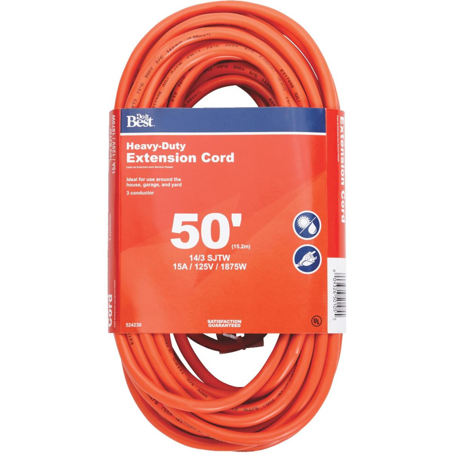 Do it Best 50 Ft. 14/3 Heavy-Duty Outdoor Extension Cord Image 1