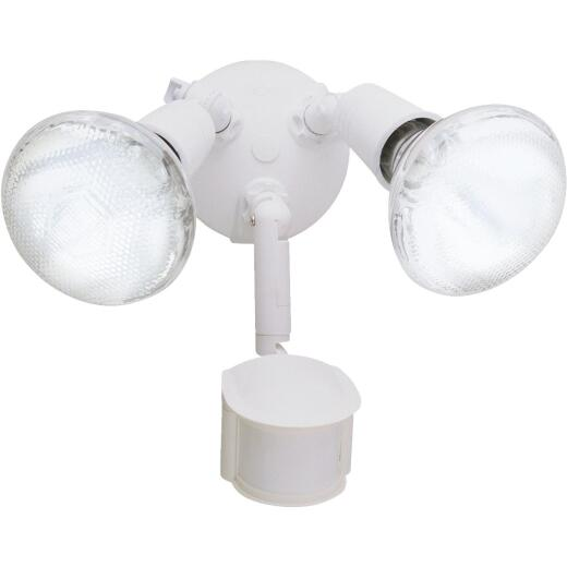 All-Pro White Motion Sensing Dusk To Dawn Incandescent Floodlight Fixture