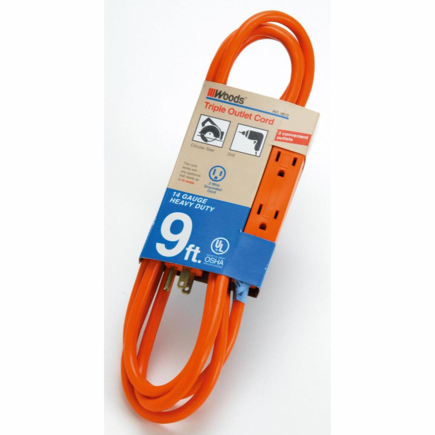 Woods 9 Ft. 14/3 Triple Outlet Extension Cord Image 1