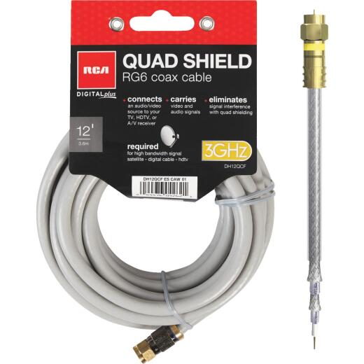 RCA 12 Ft. Gray Quad RG6 Coaxial Cable