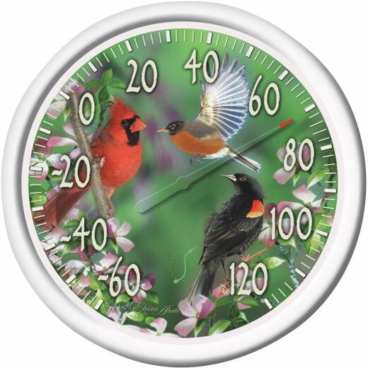 "Taylor 13-1/4"" Dia Plastic Dial Birds Indoor & Outdoor Thermometer"