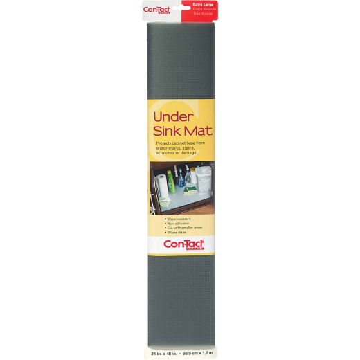 Con-Tact 24 In. x 4 Ft. Graphite Under Sink Mat Non-Adhesive Shelf Liner