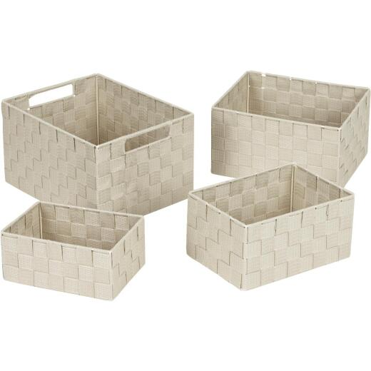 Home Impressions 4-Piece Woven Storage Basket Set, Beige