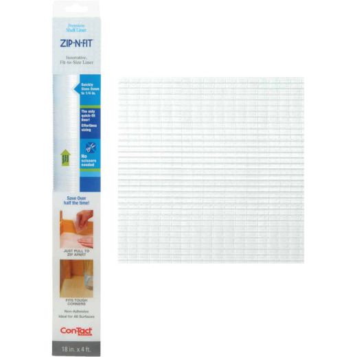 Con-Tact Zip-N-Fit 18 In. x 4 Ft. Clear Non-Adhesive Shelf Liner