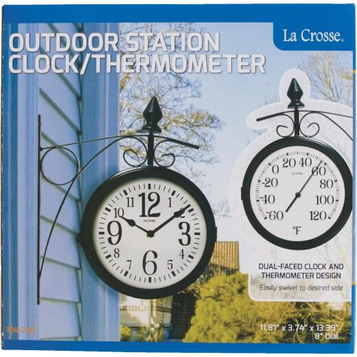 "La Crosse Technology 8"" Metal Outdoor Clock Thermometer"
