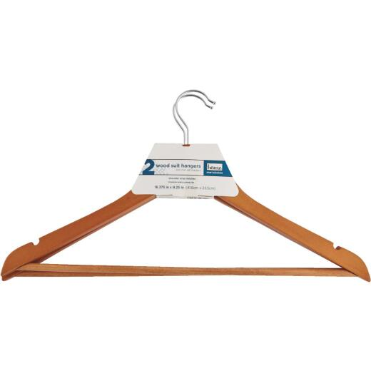Homz Smart Solutions Lacquered Wood Suit Hanger (2-Pack)
