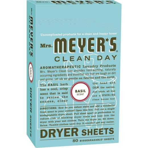 Mrs Meyer's Clean Day Basil Dryer Sheet (80 Count)