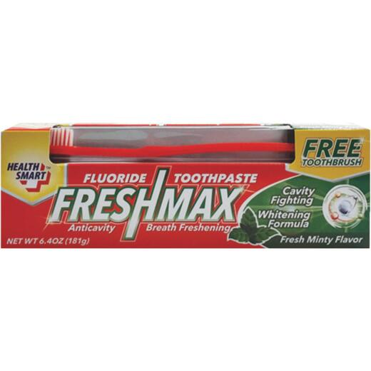 Health Smart FreshMax 6.4 Oz. Mint Flouride Toothpaste with Toothbrush