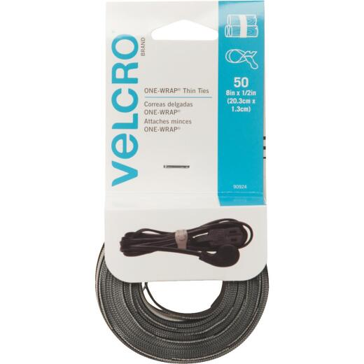 VELCRO Brand One-Wrap 1/2 In. x 8 In. Black Hook & Loop Tie (50 Ct.)