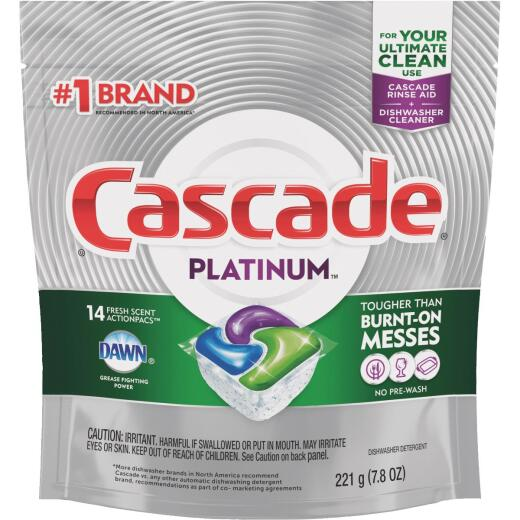 Cascade Platinum Action Pacs Fresh Dishwasher Detergent Tabs, 14 Ct.