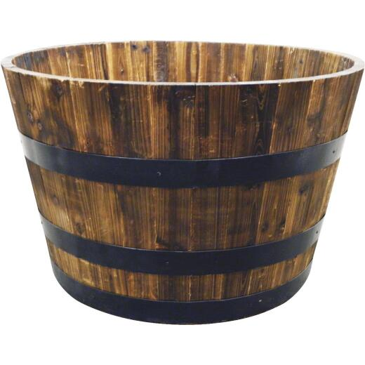 Real Wood Products 26 In. Cedar Whiskey Barrel Planter