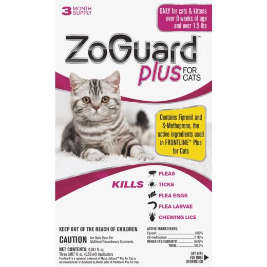 ZoGuard Plus 3-Month Supply Flea & Tick Treatment For Cats Over 1-1/2 Lb.