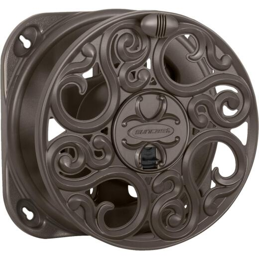 Suncast 60 Ft. x 5/8 In. Brown Resin Decorative Wall Mount Hose Reel