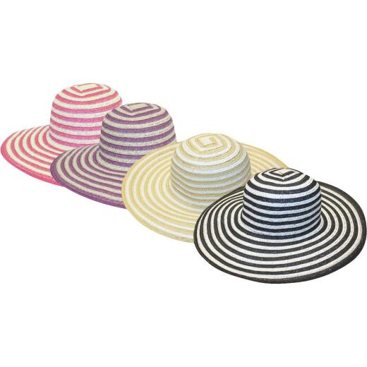 Midwest Quality Glove Women's Assorted Stripe Straw Sun Hat