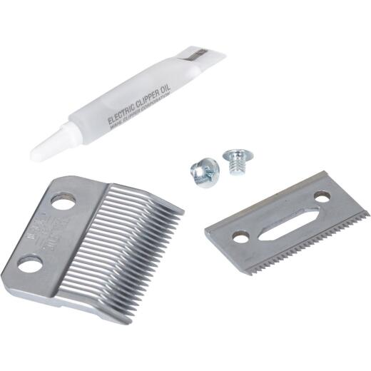 Wahl Satin Chrome Replacement Clipper Blade Set with Oil
