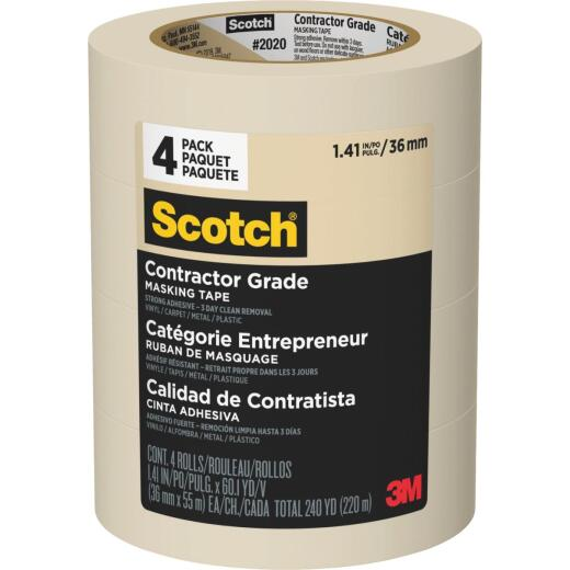 3M Scotch 1.41 In. x 60.1 Yd. Contractor Grade Masking Tape (4-Pack)