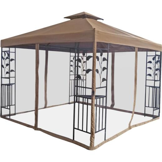 Outdoor Expressions 12 Ft. x12 Ft. Brown Steel Gazebo