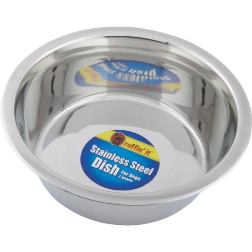 Westminster Pet Ruffin' it Stainless Steel Round 2 Qt. Pet Food Bowl