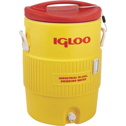 Igloo 10 Gal. Yellow Industrial Water Jug with Cup Dispenser Bracket